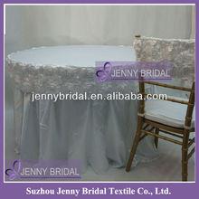 TS013C White Table Cloth Wedding Rosette
