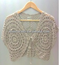 Lace hand made Knitted Crochet BOLERO, Crochet Shrug (KCC-HCVST0037)