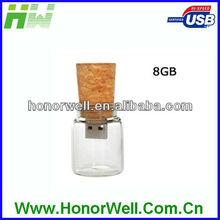 8GB Glass Bottle with Cork USB Flash Drive (Transparent)
