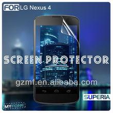 privacy/mirror/plain/anti glare mobile LCD screen protectors/guard/cover/film for LG Nexus 4