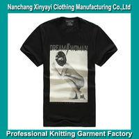 Men fashion t shirt with cotton spandex men solid color with print t shirt