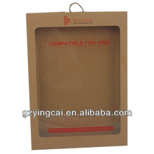 custom cosmetic kraft paper with pvc window packaging box
