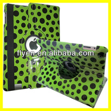 Polka Dots Rotating Leather Case for iPad 4 3 2 Magnetic Smart Cover Wholesale Cheap Lot Customzied Cases Covers for ipad Green