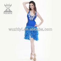 2014 latest fashion and modern luxury modern tassels sexy colorful beaded ballroom latin dance dress (QC2096)