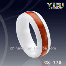 White Ceramic Wedding Ring Hawaii Koa Wood inlay Ceramic Ring Hawaii Wood Ring Ceramic Engagement Bands