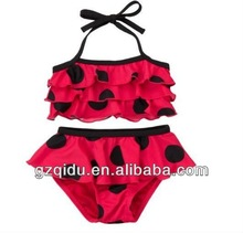 NEW! kids two piece swimwear sexy black pot red swim suit children bikini beachwear