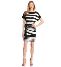 Women's Combo Stripe Belted Dress