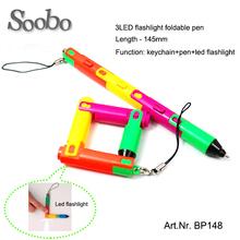 3Led flashlight Multi-functional foldable Ballpoint Pen