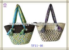 2013 new design women elegant high quality mixed colour corn husk straw bag