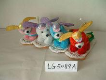 4-colour lovely promotional customized stuffed plush christmas dog animal toy with hat&plush ski
