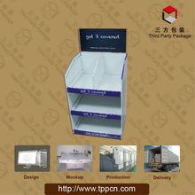Favorites Compare cardboard bead 3 tier display rack Leader Promotion cosmetic/persona floor display rack flooring laminate bead