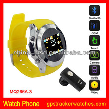 "2013 best selling New steel watch cell phone1.33"" touch screen 1.3M camera,Bluetooth, MP3 MP4,FM GSM Quad band MQ266"
