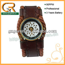Leather Military Watch Strap Brown D00013Z
