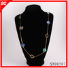 2013 Fashion Jewelry long thin chain necklace pave colourful rhinestone