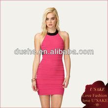 Sexy Ladies Halter Ribbed Knit Bodycon Dress