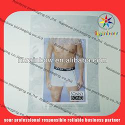 briefs packaging bag, see through pouch,Euro hole bag