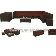 2013 New style Aluminum frame rattan garden sectional sofa furniture