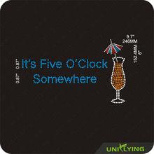 It's 5 O'clock somewhere wine rhinestone motif
