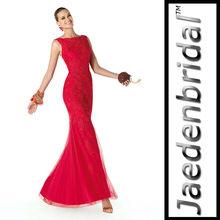 Mode de conception customed je0223 sirène, appliques tulle bustier en dentelle rouge hot vendez robe de soirée 2013