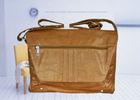 """FAUX LEATHER SATCHEL, Bag, Vintage, Retro, 13"""", handmade, messenger, laptop, tan"""