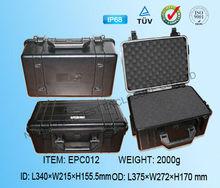 IP68 ABS orange plastic waterproof tool box with customized foam