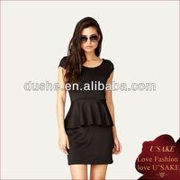 Scuba Knit Ladies Black Peplum Dress