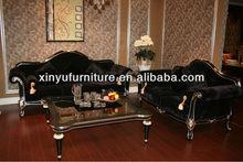 Black velvet sofa set A10160