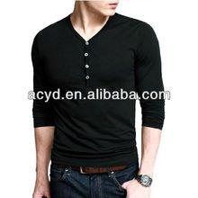 Fashion v-neck men's long sleeve T-shirt, pure color cotton tshirt