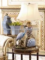 Elegant Hand Painted Blue Color Porcelain Table Lamp And Decorative accessories, Luxurious Brass Decorative Porcelain.