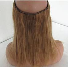 Piano Color Mixed Color medium brown color flip in human hair extension halo hair