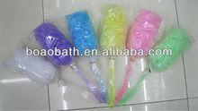 long plastic hander bath sponge net bath sponge with handle