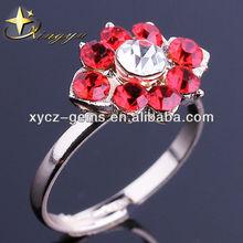 fashion flower shaped ruby gemstone rings