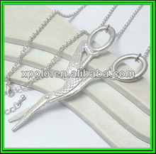Fashion metal large bird design on scissors long chain necklace