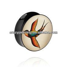 Flying Pigeon Custom Made Saddle Acrylic Body Jewelry Ear Expander Piercing Tunnel Plug