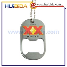 zinc alloy dog tag bottle opener with printed logo