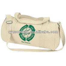 Custom Print Eco Cotton Canvas Duffel Bag With Shoulder Strap