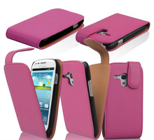 PU leather cell phone case flip cover for Samsung galaxy S3 mini i8190