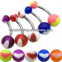 Sweet Navel Piercing Ring UV Acrylic Jewelry banana bell