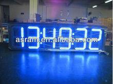 digital Led light LCD advertising screen wall calendar clock, 6-digit, wall mounting white digital synchronization clock