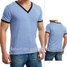 V neck men t shirt yarn dye