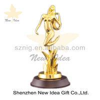 Decorative Elegant Custom Metal Trophies With Black Base Shining Surface Treatment