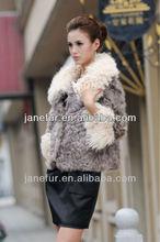 Lady's fashion lamb fur short coats with big square collar made of lamb fur