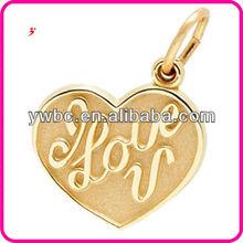 heart shape gold plated convex writing i love you charm