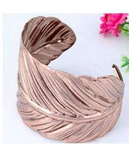 New Design Fashion Jewellery Metal Alloy Open Bangle, Special Design One Pc Leaf Bracelet
