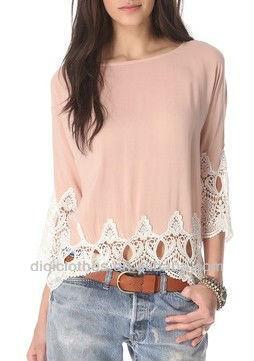 Rayón suave dulce de encaje de Color rosa de la blusa alto bajo del dobladillo del cordón 2014