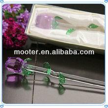 Purple Crystal Glass Rose Stem For Wedding Decoration