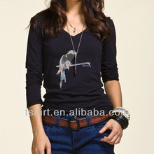 Pinting long sleeve tight t shirt for women
