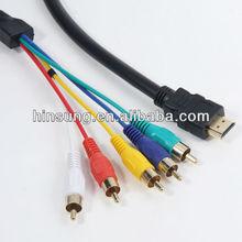 1080p gold MINI HDMI To RCA cable cable hdmi a rca
