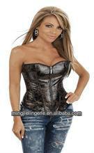 H2291 sexy lady's corset PVC/natural fibre lingerie sex products