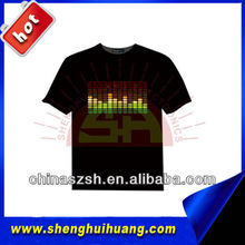 New Year party item popular light up EL T-shirt with 100% cotton